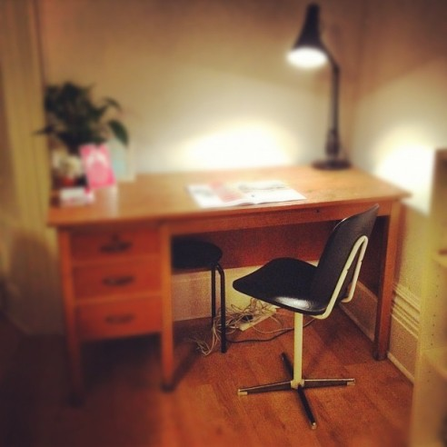We bought a new chair to go with our desk... great for blogging from!