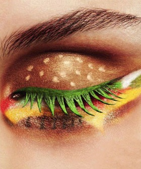 A very unusual combination of cheese burger and eye shadow!